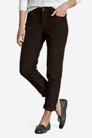 Brown Petite Pants for Women: Women's Boyfriend Slim Leg Cord Pants