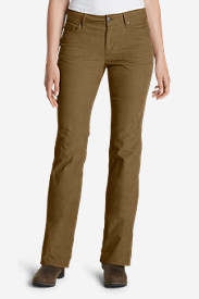 Brown Petite Pants for Women: Women's Curvy Bootcut Cord Pants