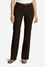 Brown Petite Pants for Women: Women's StayShape Twill Trousers - Curvy
