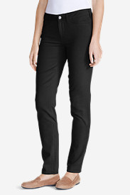 Black Petite Jeans for Women: Women's Elysian Twill Slim Straight Jeans - Slightly Curvy