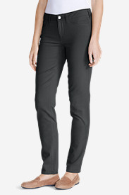 Straight Leg Plus Size Pants for Women: Women's Elysian Twill Slim Straight Jeans - Slightly Curvy