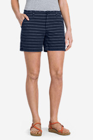 Women's Slightly Curvy Poplin 5' Shorts - Stripe
