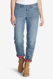 Blue Plus Size Jeans for Women: Women's Boyfriend Flannel-Lined Jeans