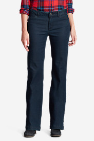 Polyester Pants for Women: Women's Elysian Denim Trousers - Curvy