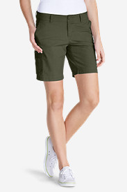 Green Petite Shorts for Women: Women's Slightly Curvy Adventurer Ripstop 8' Cargo Shorts