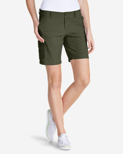 Green Plus Size Shorts for Women: Women's Slightly Curvy Adventurer® Ripstop 8' Cargo Shorts