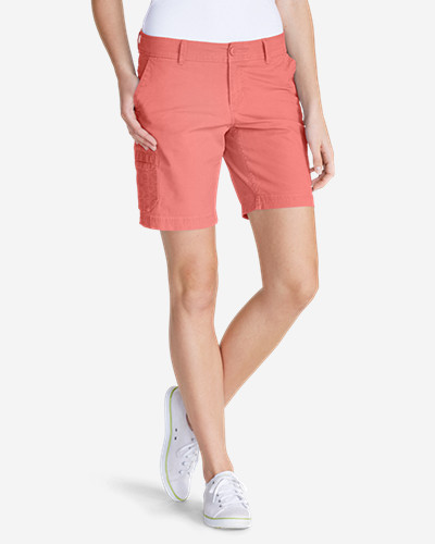 Orange Petite Shorts for Women: Women's Slightly Curvy Adventurer® Ripstop 8' Cargo Shorts