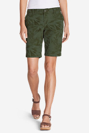 Green Petite Shorts for Women: Women's Slightly Curvy Adventurer® Ripstop Bermuda Shorts - Print