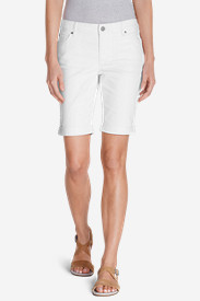 White Petite Shorts for Women: Women's Slightly Curvy Denim Bermuda Shorts - White
