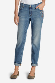 Blue Plus Size Jeans for Women: Women's Homespun Boyfriend Slim Jeans
