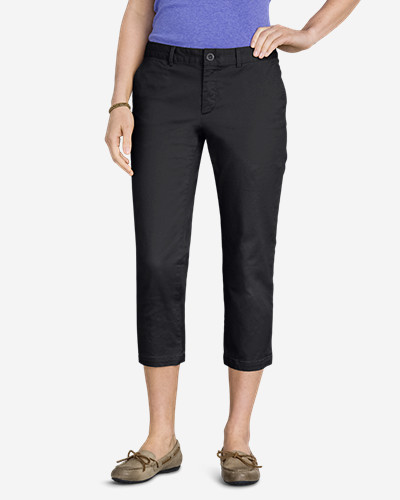 Gray Pants for Women: Women's Slightly Curvy Legend Wash Stretch Twill Cropped Pants