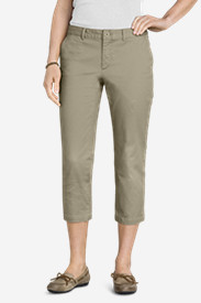 Stretch Capri Pants for Women: Women's Slightly Curvy Legend Wash Stretch Twill Cropped Pants