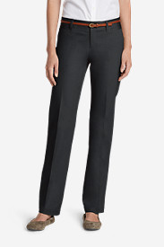 Petite Pants for Women: Women's StayShape® Straight Twill Pants - Slightly Curvy