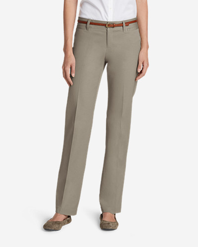Mid-Rise Pants for Women: Women's StayShape® Straight Twill Pants - Slightly Curvy