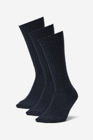 Blue Socks for Men: Men's Solid Crew Socks - 3 Pack
