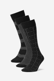 Spandex Accessories for Men: Men's Pattern Crew Socks - 3 Pack
