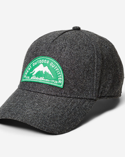 Gray Accessories for Women: Wool-Blend Graphic Cap