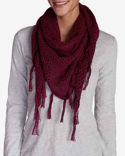 Accessories for Women: Women's Open Stitch Triangle Scarf