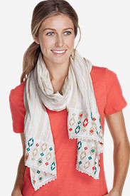 Cotton Accessories for Women: Women's Embroidered Oblong Knit Scarf