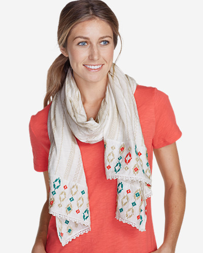 Accessories for Women: Women's Embroidered Oblong Knit Scarf