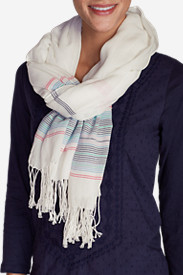 Cotton Accessories for Women: Women's Weekend Getaway Oblong Scarf - Stripe