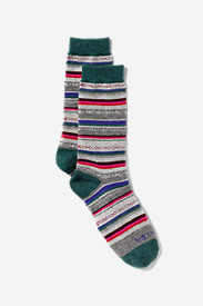 Green Socks for Women: Women's Crew Socks - Stripe