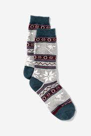 Cotton Accessories for Women: Women's Crew Socks - Ski & Snowflake
