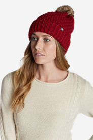 Red Hats for Women: Women's Sun Valley Pom Beanie