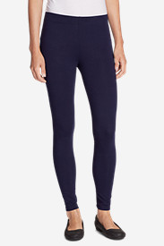 Blue Petite Leggings for Women: Women's Full-Length Wide Waistband Leggings