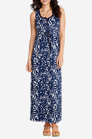 Women's Henley Maxi Dress - Print