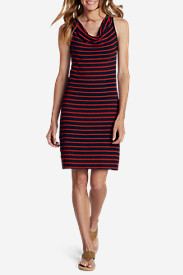 Petite Dresses for Women: Women's Cowl Neck Dress - Stripe