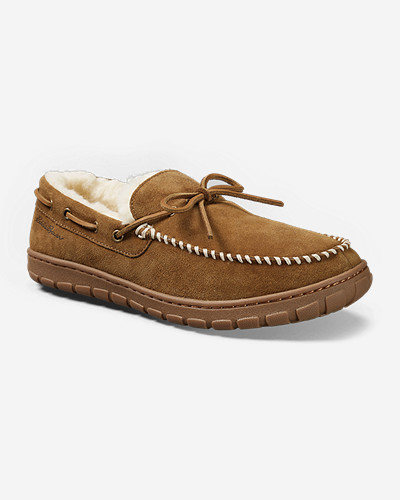 Beige Shoes for Men: Men's Eddie Bauer Shearling-Lined Moccasin Slippers