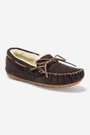 Brown Shoes for Women: Women's Shearling-Lined Moccasin Slipper