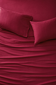 Red Bedding: Portuguese Flannel Sheet Set - Solid