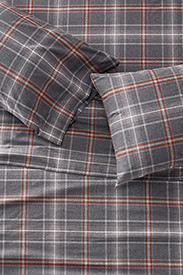 Gray Sheets: Portuguese Flannel Sheet Set - Plaids & Heathers