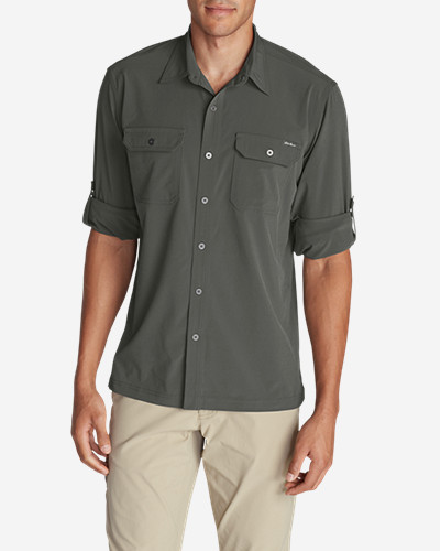 Green Shirts for Men: Men's Departure Long-Sleeve Shirt