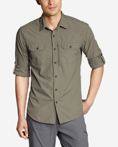 Green Shirts for Men: Men's Exploration Long-Sleeve Shirt