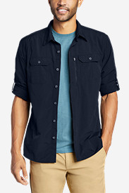 Blue Shirts for Men: Men's Exploration Long-Sleeve Shirt