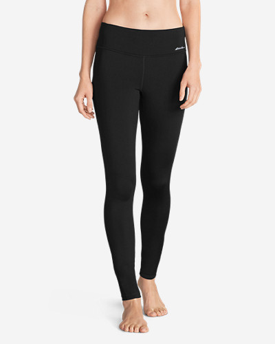 Women's Crossover Fleece Leggings   Solid by Eddie Bauer