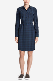 Women's Departure Long-Sleeve Shirt Dress - Plaid
