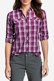 3 Quarter Sleeve Tops: Women's Mountain Long-Sleeve Shirt - Plaid
