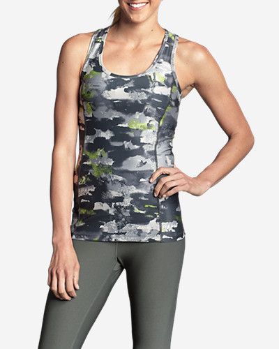 Gray Tank Tops for Women: Women's Movement Racerback Tank Top - Print