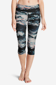 Polyester Leggings for Women: Women's Movement Capri - Sunset Print