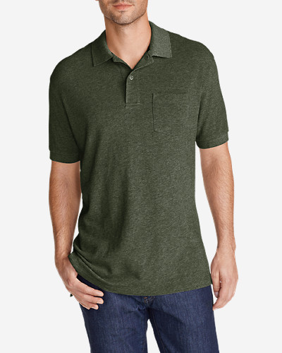 Green Shirts for Men: Men's Field Short-Sleeve Pocket Polo Shirt