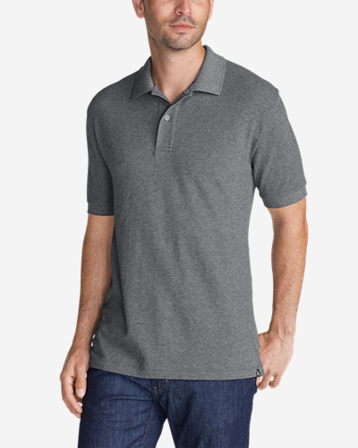 Gray Shirts for Men: Men's Field Short-Sleeve Polo Shirt - Slim Fit