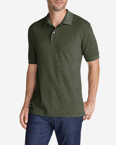Green Shirts for Men: Men's Field Short-Sleeve Polo Shirt - Slim Fit