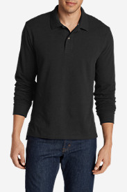 Black Shirts for Men: Men's Field Long-Sleeve Polo Shirt