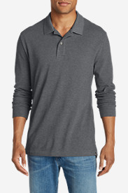 Gray Polo Shirts for Men: Men's Field Long-Sleeve Polo Shirt