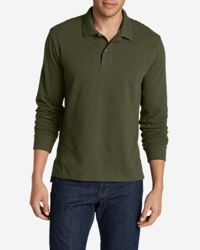 Green Shirts for Men: Men's Field Long-Sleeve Polo Shirt