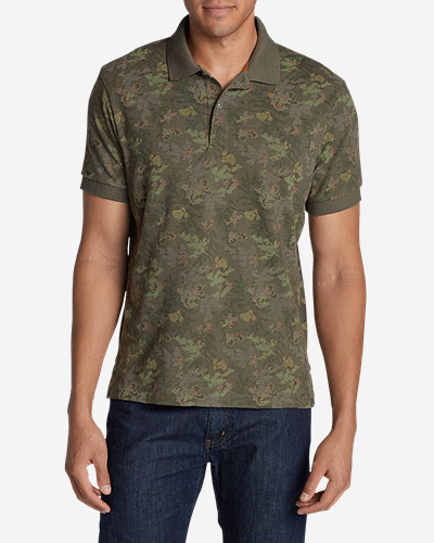 Green Shirts for Men: Men's Field Short-Sleeve Polo Shirt - Print